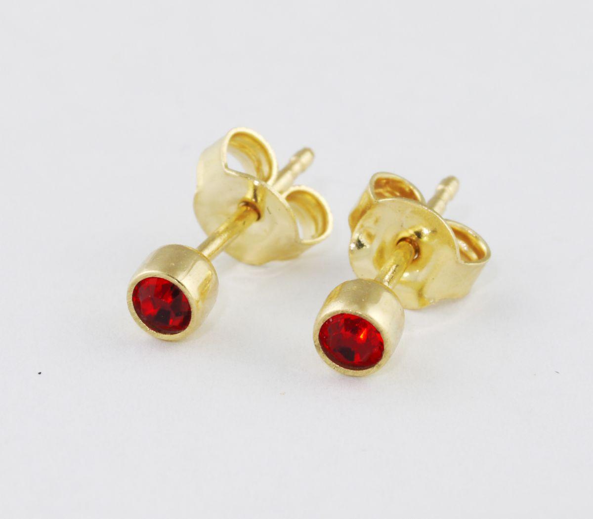 6b4786e18 Sárga arany bedugós szoliter piros köves fülbevaló